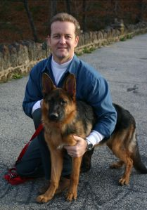 Chris with Reina the wonderdog GSD
