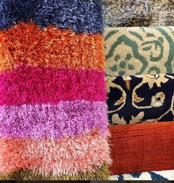 Kaleen custom shag rug vibrant color choices
