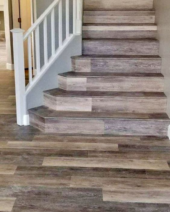 CoreTec luxury vinyl tile plank flooring on steps stairs